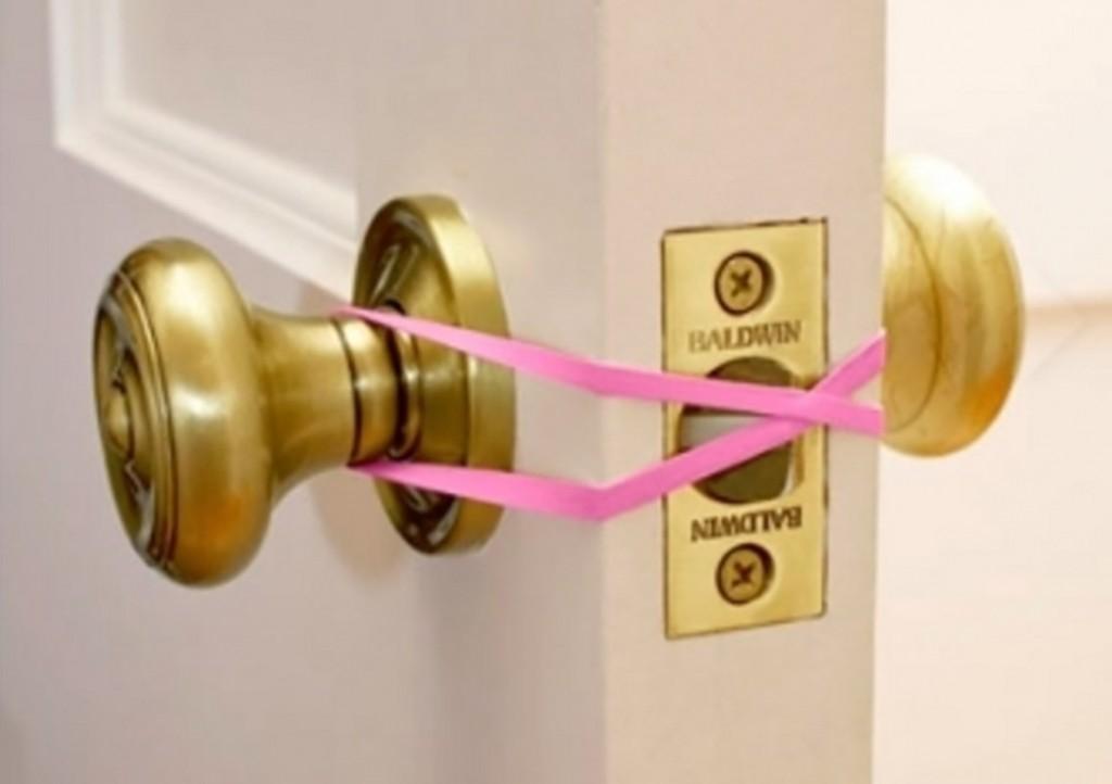 Baby safe door knob parenting hack