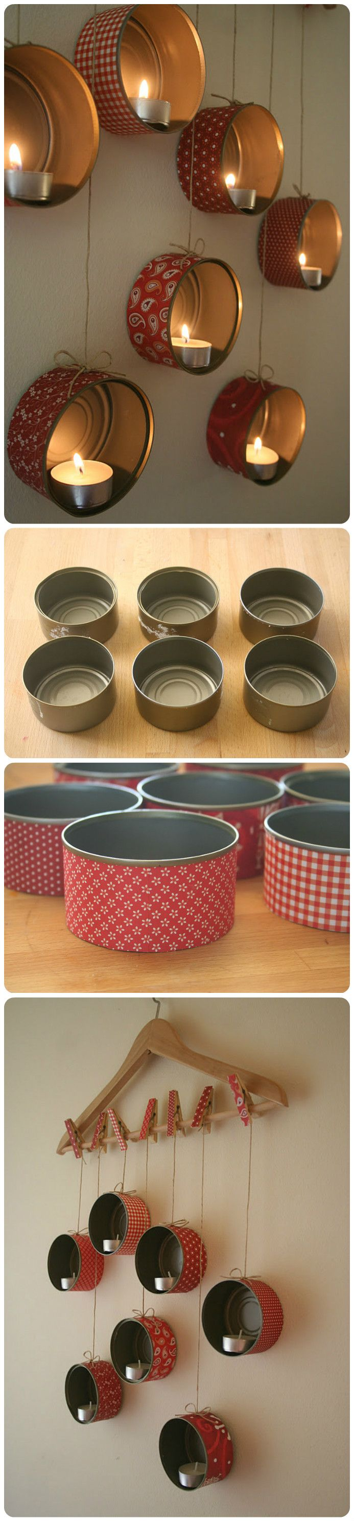 This is such a creative way of using old tins and revamping them into gorgeous candle holders!