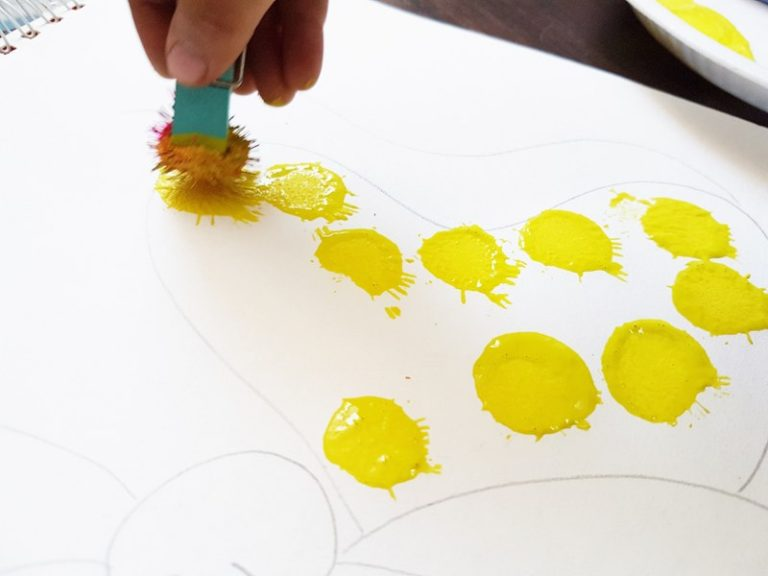 DIY Pom Pom And Water Colour Art For Kids